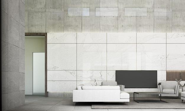モダンなミニマルスタイルのリビングとダイニングエリアのソファセット白い大理石の壁の装飾と灰色の床タイル3 dレンダリング