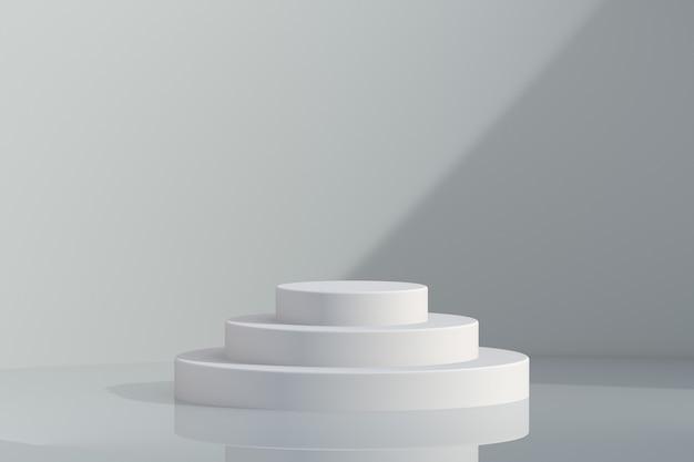 3개의 원 레벨이 있는 제품 배치 3d 렌더링을 위한 현대적인 최소 흰색 연단 디스플레이