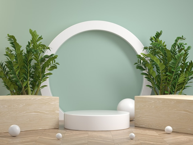 Modern minimal white podium on wooden floor with plant and green mint pastel