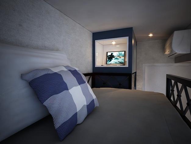 이층 침대와 서랍이 있는 현대적인 미니멀리즘 어린이 침실 및 서재