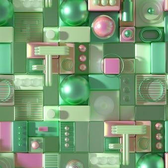 Modern minimalism futuristic background with cubes and balls