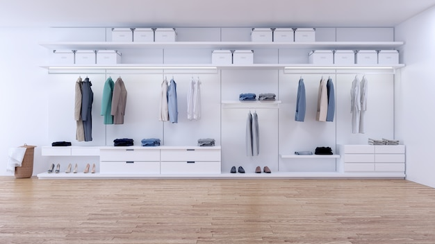 Modern minimalist dressing room interior