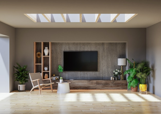 Modern minimalist interior cabinet tv wall mounted in a cement room with a concrete wall.3d rendering