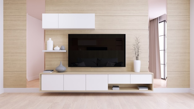 Modern and minimalist interior of living room, white tv cabinate