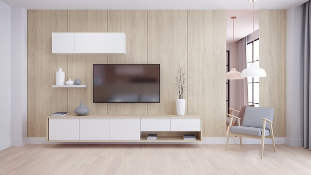 Modern and minimalist interior of living room