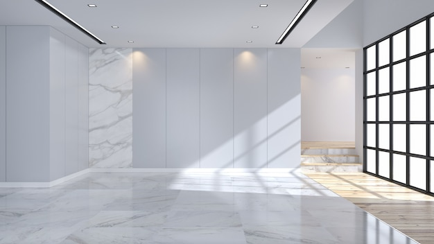 Modern and minimalist  interior, marble flooring and blue wall