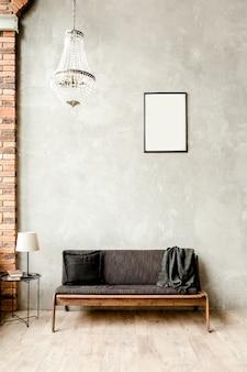 거실의 빈 벽에 소파가있는 현대적인 미니멀리스트 인테리어