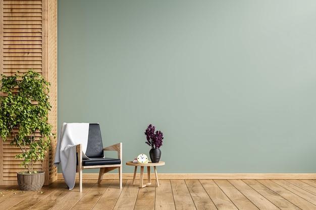 Современный минималистичный интерьер с креслом на пустой зеленой стене