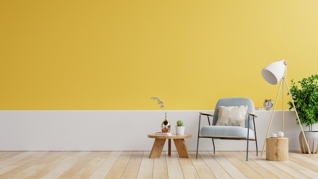Modern minimalist interior with an armchair on empty white,yellow wall background.3d rendering