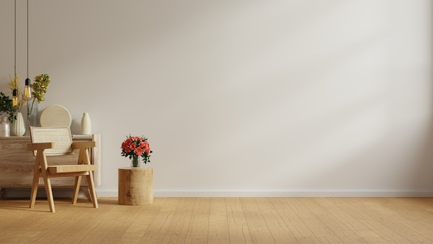 Modern minimalist interior with chair on empty white wall.3d rendering