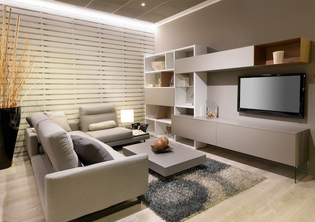 Modern minimalist living room with beige decor and a large comfortable sofa facing a television and wall unit with coffee table and rug on a wooden floor