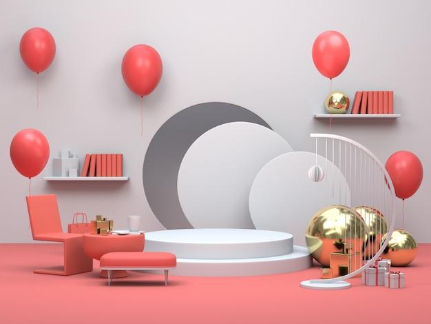 Modern minimalist podium display or showcase, interior living room apartment with balloons