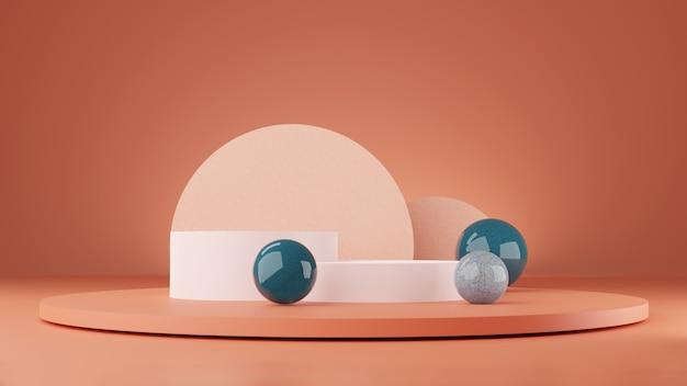 モダンなミニマリストの表彰台ディスプレイは、最小限の幾何学的形状の3dレンダリングの背景を紹介します