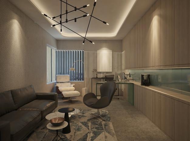 Modern minimalist of private office design interior