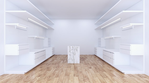 Modern minimalist walk in closet with white wardrobe interior design