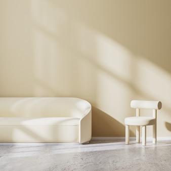 밝은 베이지색 안락의자와 소파가 있는 거실의 현대적인 미니멀리즘 디자인, 벽에 햇빛이 비치는 소파, 빈 베이지색 벽, 콘크리트 바닥, 3d 렌더링