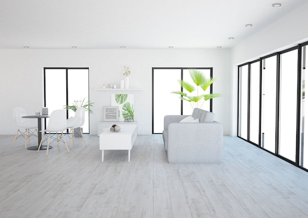Modern minimalistic open space living room with many windows