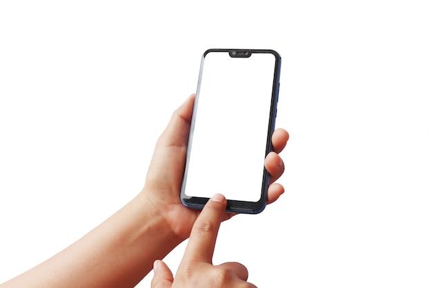 孤立した現代の携帯電話のクローズアップ