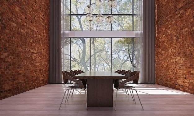 Современный макет декора и мебели и столовой и синей стены текстуры фона дизайн интерьера