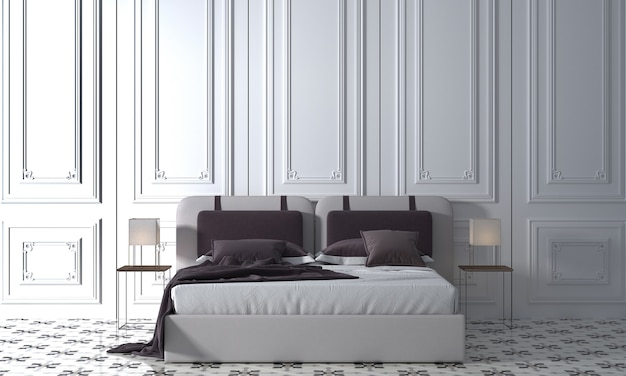 Modern mock up decor interior design of cozy bedroom and white wall texture background, 3d rendering