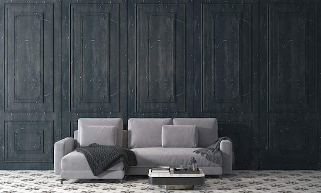 Modern mock up decor interior design of cozy living room and black wooden wall texture background, 3d rendering