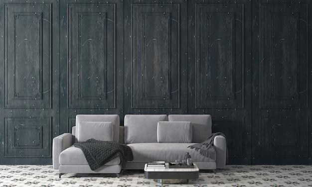 아늑한 거실과 검은 나무 벽 질감 배경, 3d 렌더링의 장식 인테리어 디자인을 현대 모의