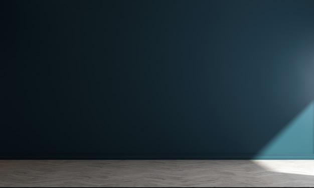 아늑한 거실과 파란색 벽 질감 배경, 3d 렌더링의 장식 인테리어 디자인을 현대 모의