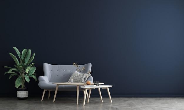 아늑한 거실과 빈 파란색 벽 질감 배경, 3d 렌더링의 장식 인테리어 디자인을 현대 모의
