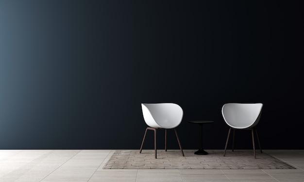 Современный макет дизайна интерьера уютной гостиной и пустой голубой стены текстуры фона
