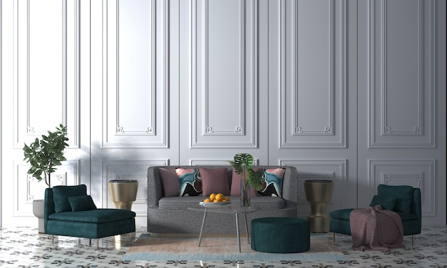 아늑한 흰색 거실과 흰 벽 질감 배경, 3d 렌더링의 장식 인테리어 디자인을 현대 모의