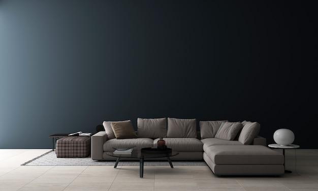 Современный макет декора интерьера гостиной и пустой синий фон текстуры стены