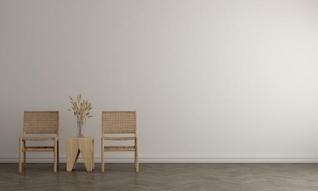 リビングルームと白い壁のテクスチャ背景のモダンなモックアップ装飾インテリアデザイン