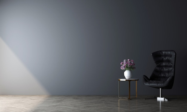 현대 최소한의 아늑한 거실과 빈 파란색 벽 질감 배경, 3d 렌더링의 장식 인테리어 디자인을 모의