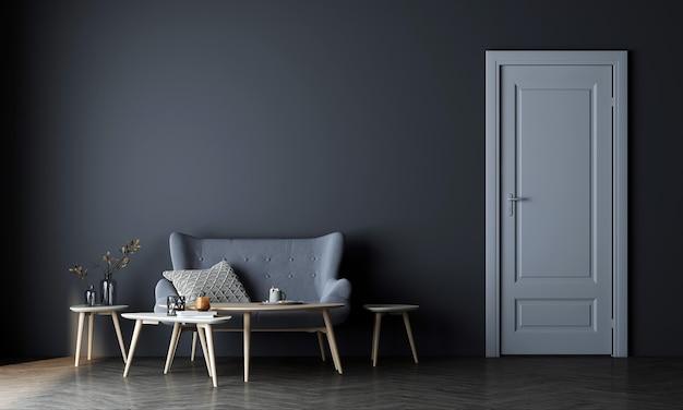 현대 최소한의 아늑한 거실과 빈 파란색 벽 질감 배경과 흰색 문 장식 인테리어 디자인을 모의