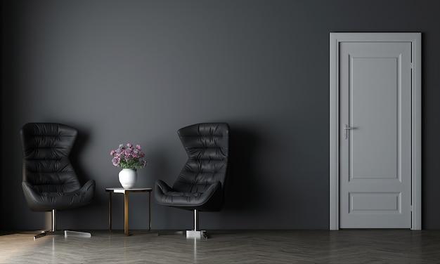 최소한의 아늑한 거실과 빈 파란색 벽 질감 배경의 장식 인테리어 디자인을 현대 모의