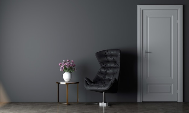 현대 아늑한 거실과 빈 파란색 벽 질감 배경, 3d 렌더링의 장식 인테리어 디자인을 현대 모의