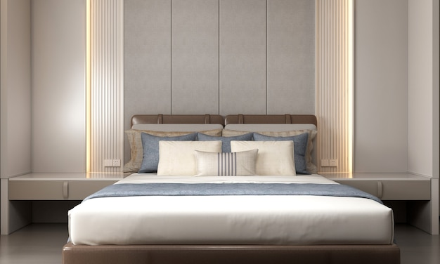 Modern mock up decoration interior of bedroom and empty wall pattern background 3d rendering