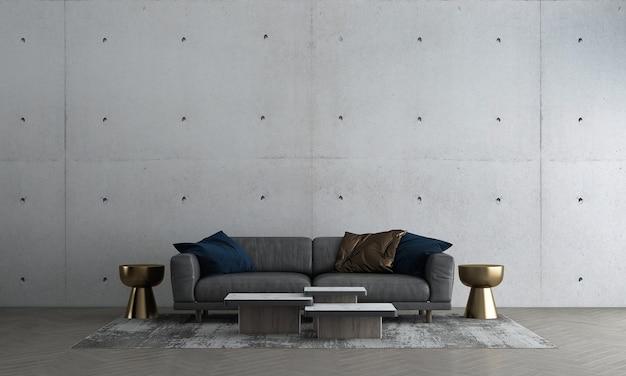 Современный макет интерьера и дизайна гостиной из старого декора бетонной стены и дивана с золотой тумбочкой 3d-рендеринга