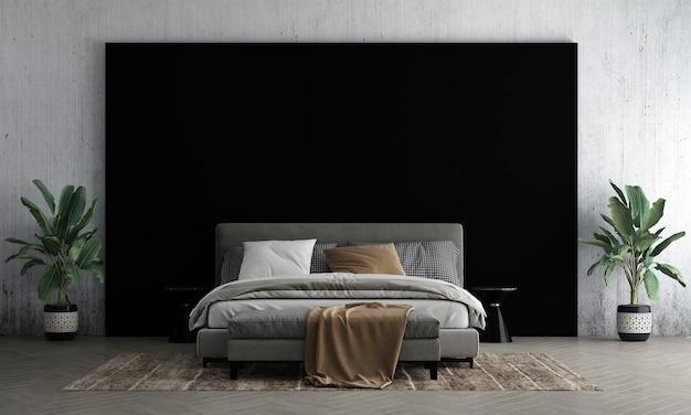 Современный макет дизайна интерьера спальни и фонового декора черно-бетонной стены, тумбочки и дерева 3d-рендеринга
