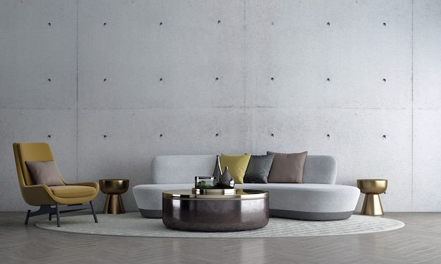 Современный макет оформления интерьера и дизайна гостиной и фона текстуры стены и дивана с золотой тумбочкой 3d-рендеринга