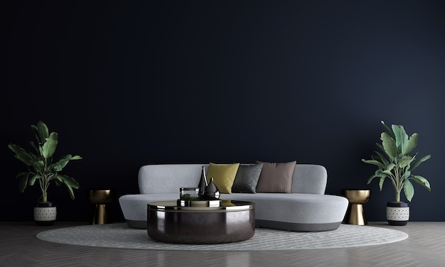 Modern mock up interior decoration and living room design and dark blue wall texture background and grey sofa with gold side table 3d rendering