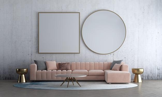 Современный макет дизайна интерьера гостиной из старого декора бетонной стены и розового дивана с золотой тумбочкой 3d-рендеринга