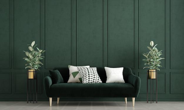 Современный макет дизайна интерьера гостиной и зеленый узор стены фон