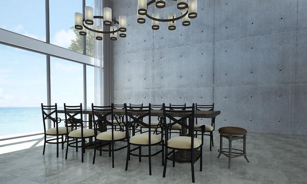 Современный макет интерьера комнаты и столовой на чердаке, фон бетонной стены и вид на море