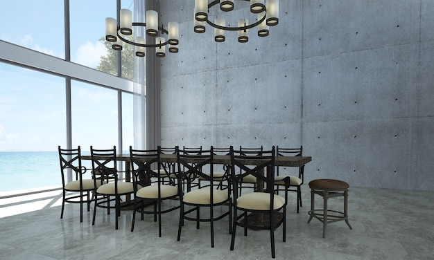 Modern mock up room interior and loft dining room and concrete wall background and sea view