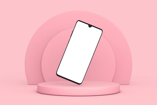 분홍색 배경에 분홍색 실린더 제품 무대 받침대 위에 디자인을 위한 빈 화면이 있는 현대적인 모형 휴대 전화. 3d 렌더링