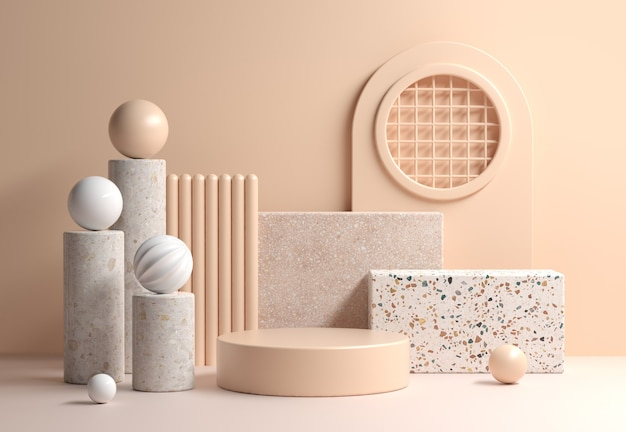 Modern mockup soft beige display with abstract geometry composition