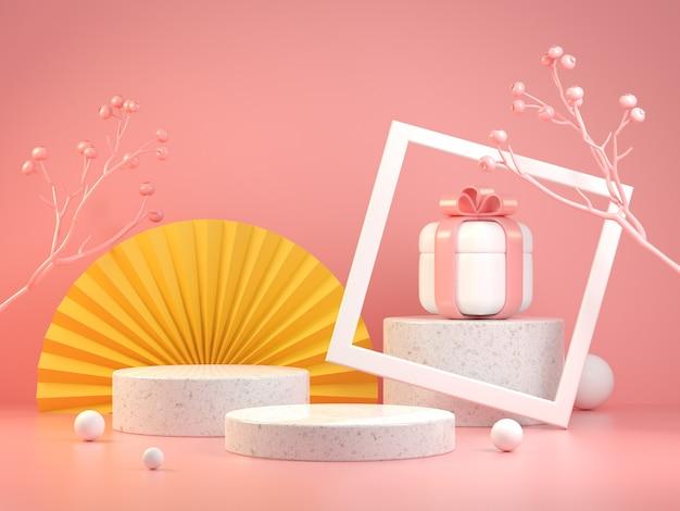 핑크 파스텔 색상에 아시아 컨셉과 선물 상자 세트가있는 현대 모형 무대 디스플레이