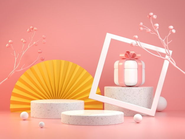 Modern mockup stage display with asian concept and gift box set on pink pastel color