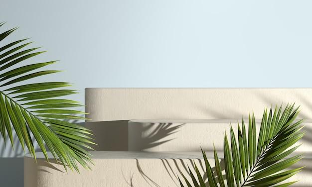 양산 팜 리프 그림자가있는 현대 모형 단계 연단